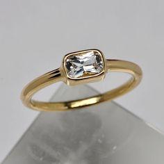 Emerald cut sapphire bezel ring - engagement ring - 18k gold