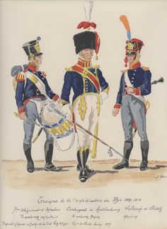 Confederation of the Rhine; 7th Infantry Regt, Drummer of Fusiliers, Drum Major & Musician 1809-12