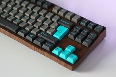 Cyan & Wood Keyboard