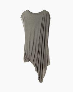 Like the asymmetry and fabric drape: Rick Owens Lilies Short Sleeve Drape Top | La Garçonne