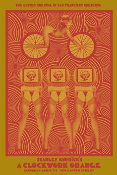 Rare Kubrick A Clockwork Orange Silkscreen Movie Poster Castro Theatre- O'Daniel Stanley Kubrick, Screen Print Poster, Poster Prints, Vintage Movies, Vintage Posters, Illustrations, Illustration Art, A Clockwork Orange Movie, Cinema Posters