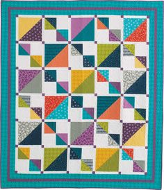 Mix It Up quilt by Seams Like A Dream using Studio M's Mixologie fabric Lap Quilt Patterns, Heart Quilt Pattern, Beginner Quilt Patterns, Lap Quilts, Scrappy Quilts, Strip Quilts, Quilt Blocks, Half Square Triangle Quilts, Square Quilt