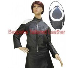 #Women_Leather_Jacket With White Strip. This jacket made from Real Sheep Nappa Leather.