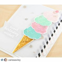 Can't imagine a sweeter Summer card!#Repost from @carissawiley ・・・ It's #EllenHutsonSaturYAY!  Head on over to the @ellenhutsonllc CLASSroom blog for this sweet birthday card and a new #videotutorial. I'll show you how to layer your dye inks to create lots of contrast with your color layering stamp sets. #papercrafts #cardmaking