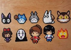 Perler keychains from a few Studio Ghibli movies! Kikis Delivery Service, My Nei… Perler keychains from a few Studio Ghibli movies! Kikis Delivery Service, My Neighbor Totoro, and Howls Moving Castle are featured Perler Bead Designs, Hama Beads Design, Diy Perler Beads, Hama Beads Patterns, Perler Bead Art, Loom Patterns, Hama Beads Pokemon, Beading Patterns Free, Art Patterns