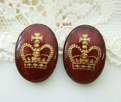 Vintage Dark Red and Gold Crown Glass by alyssabethsvintage, $5.00