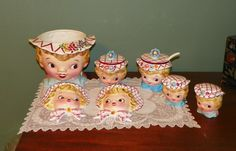 Vintage Lefton MISS DAINTY Set Wall pockets Shakers Sugar Jelly Jam Cookie Porcelain Retro Kitchen