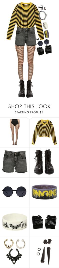 """""""i'll keep pushing on."""" by tokyofoool ❤ liked on Polyvore featuring Wolford, See by Chloé, Yves Saint Laurent, Rick Owens, Hot Topic and Music Notes"""