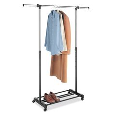 Organize your coats, dresses, sweaters or other items with this deluxe garment rack. Perfect for hanging clothing up to dry, this rolling rack features a steel hanging bar and is fully adjustable for