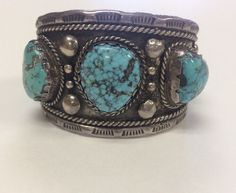 Large Sterling Silver Native American Turquoise Cuff Bracelet Unsigned