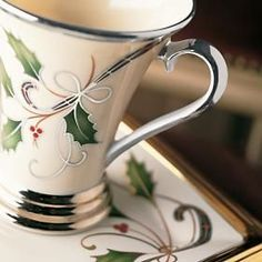 Lenox China Holiday Nouveau-Platinum Accent Mug