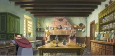 Kitchen from the beginning of Miyazaki's Howl's Moving Castle.