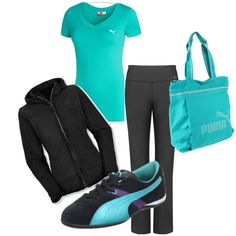 Turquoise Puma workout gear