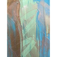 Original abstract acrylic painting modern stripes. Metallic bronze,... ($25) ❤ liked on Polyvore featuring home, home decor, wall art, gold wall art, blue green wall art, green painting, blue home decor and green home decor