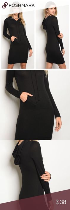 Black Hoodie Tunic Dress This simple lightweight long black hoodie is the basics staple you didn't know you couldn't live without. Super comfortable thin sweatshirt with hood and looks fantastic with leggings. NEW. Rayon/Spandex blend.  Dresses