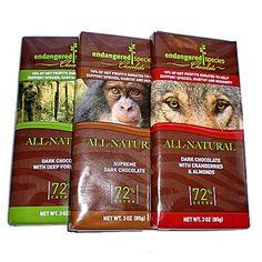 vegan, gluten-free with tons of antioxidants!  Endangered Species Organic Dark Chocolate
