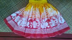 Women's hula pa'u hula skirt in a bright yellow to by SewMeHawaii, $45.00
