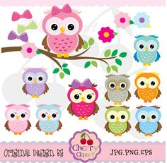 Cute Owls Digital Clipart Elements Set NOAN021 by Cherryclipart, $4.50