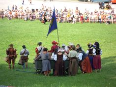 Frundsbergfest in Mindelheim / Germany.  Sutlers waiting for the end of the battle