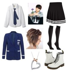 """""""A walk with Jimin to school"""" by raventriple6 ❤ liked on Polyvore featuring Napoli, TravelSmith, Dr. Martens and Disney"""