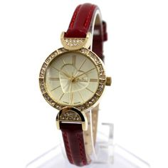 FW954B New Gold Tone Dial Red Band Round Ladies Women Fashion Watch
