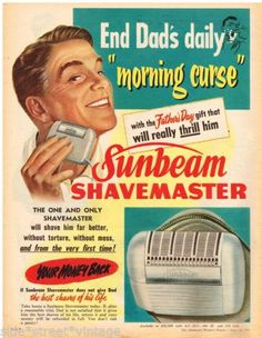 SUNBEAM-SHAVEMASTER-AD-RETRO-DAD-SHAVING-Vintage-Advertising-1955-Original-Ad