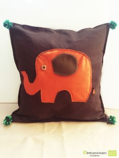 Cushion Cover, Elephants in Ethnic Style. Home Decor