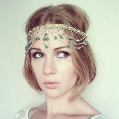 Gold and Green Beaded and Jewel Headpiece Indian Wedding Headpiece