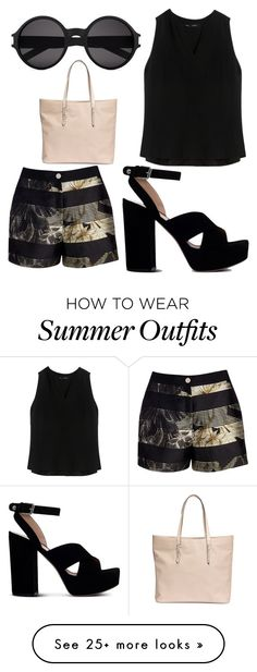 """""""Black & Cream Summer Outfit"""" by ejsmash on Polyvore featuring Ted Baker, Proenza Schouler, Gianvito Rossi, Yves Saint Laurent, women's clothing, women's fashion, women, female, woman and misses"""