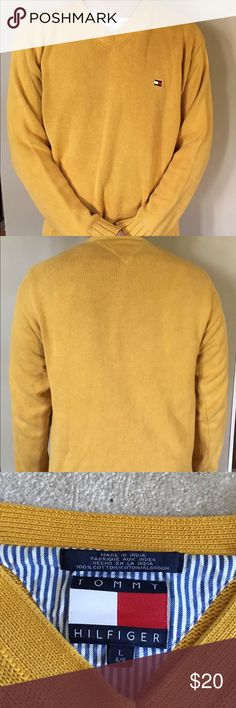 Vintage Tommy Hilfiger Sweater Yellow Size Large Vintage Tommy Hilfiger Sweater Tommy Hilfiger Sweaters
