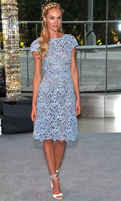 Periwinkle lasercut lace dress. The hair, the dress, the shoes... Perfection. Love her!