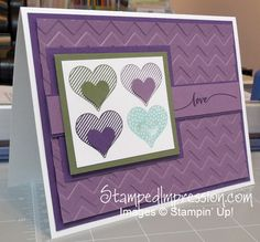 A fun Valentine in non-traditional colors. Uses Hello Life stamp set from 2015 Stampin' Up! Occasions catalog.