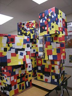 another great group project from Whats happening in the art room---boxes covered in pre-cut squares?