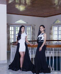 indo-western/ asian / evening wear/ black&white/ black swarovski embellishment