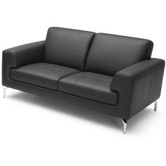 Tonic Loveseat   Black Leather Love Seat, Modern Sofa, Home Furniture,  Black Leather