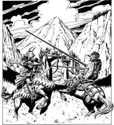 Joust. (Larry Elmore from Mentzer's D&D Dungeon Masters Companion: Book Two, TSR, 1984.)