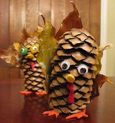 Pine cone turkeys for #Thanksgiving! Gobble, gobble! #kidcraft