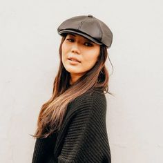 Women's Bourbon St Leather Black Cap New Release- Caps & Felts *Use your points before they expire #ahm #americanhatmakers #leathercaps #caps