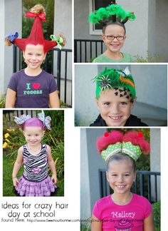 ideas for crazy hair day at school....or just for fun.... found here:  www.beeinourbonne...