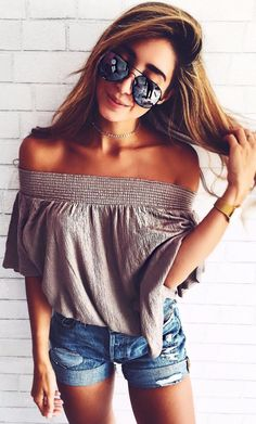 amazing summer outfit off the shoulder top + denim shorts is everything