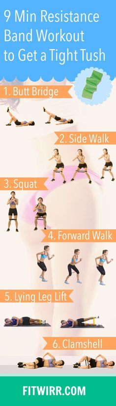9-Minute Bikini Workout with Resistance Band To Get A Tight Tush. 6 exercise band workouts to tone up your lower body. #resistancebands