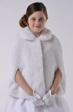 Ossa Flower Girls First Holy Communion Party Woven Fur Bolero Jacket Shrug