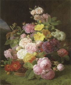 "Jan Frans van Dael (Dutch, 1764-1840), ""Roses, Peonies and other flowers on a ledge"""