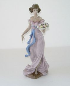 LLADRO RETIRED TALL FIGURINE #6365 SPRING FLIRTATION LADY GIRL WITH FLOWERS MINT in Collectibles, Decorative Collectibles, Decorative Collectible Brands   eBay