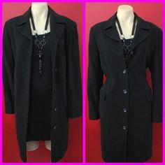 Beautiful JACQUI E Designer Long Black Italian CASHMERE WOOL Trench Coat Sz 8 10