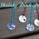 Shrinky Dink Pendant Tutorial - Great way to preserve memories of kid's drawings. Quick Crafts, Diy Arts And Crafts, Cute Crafts, Crafts To Make, Crafts For Kids, Diy Crafts, Budget Crafts, Shrinky Dinks, Gifted Kids
