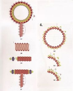 Russian tutorial, but excellent diagram. Bead Crochet Patterns, Beaded Jewelry Patterns, Peyote Patterns, Beading Patterns, Seed Bead Tutorials, Beading Tutorials, Bead Jewellery, Seed Bead Jewelry, Jewellery Making