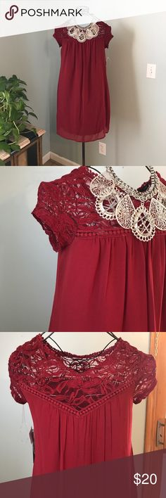 "As you wish dress As you wish lace dress size small brand new. 33"" long 17"" bust the color is wine / burgundy as you wish Dresses Midi"