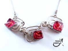Square spirals necklace red gems fused glass by LaTerraCanta