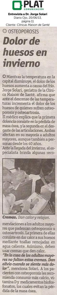 Clínicas Maison de Santé: Entrevista a Dr. Jorge Solari en el diario Ojo de Perú (20/06/13)